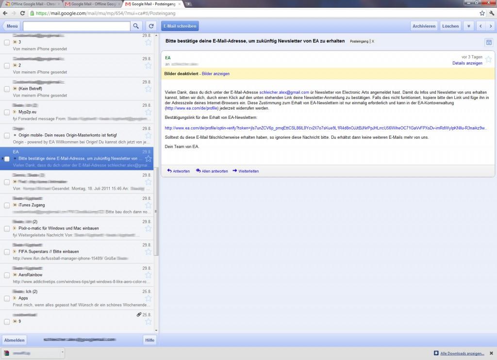 Screenshot: Google Mail Offline